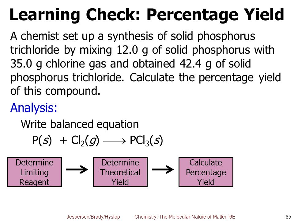 Learning Check: Percentage Yield