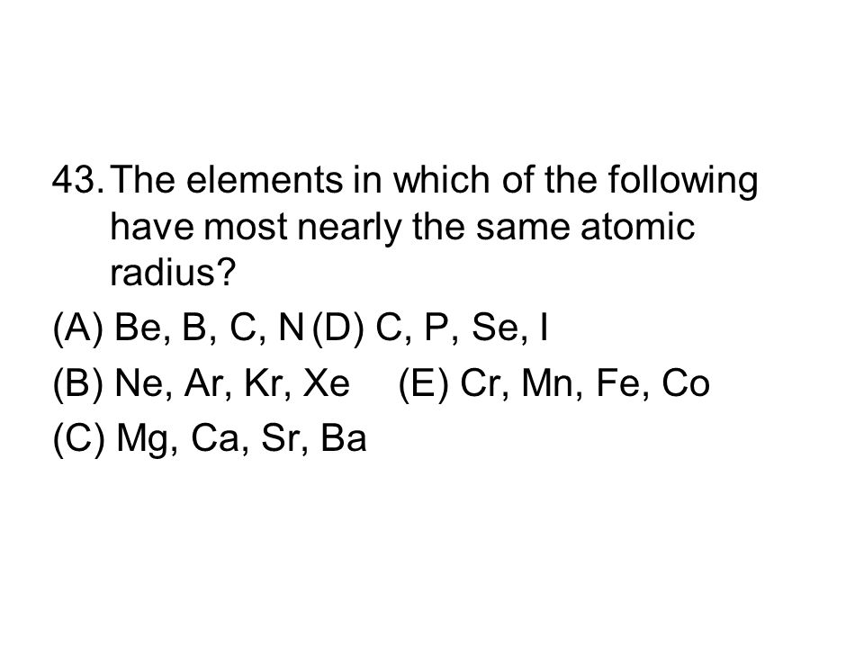 The elements in which of the following have most nearly the same atomic radius