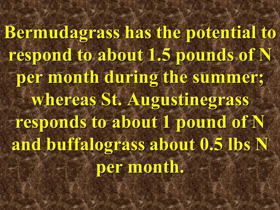 Bermudagrass has the potential to respond to about 1