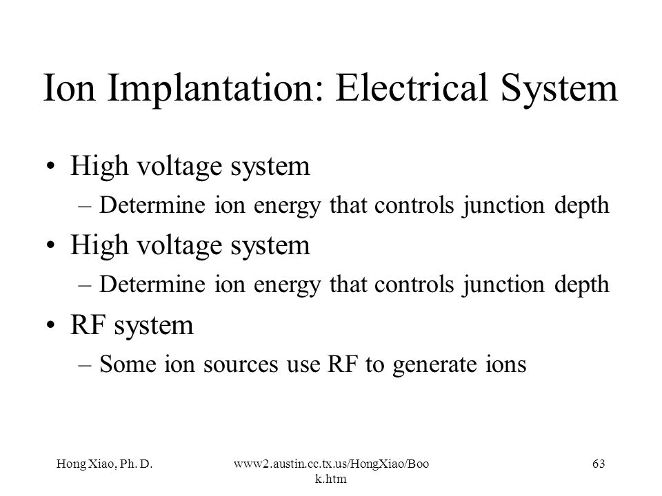 Ion Implantation: Electrical System