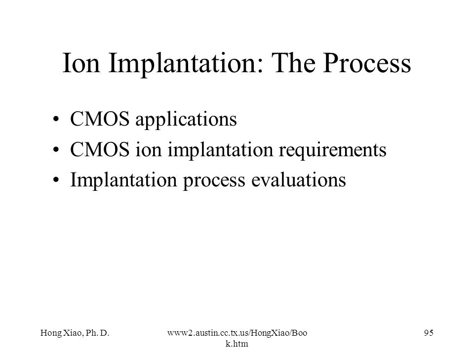Ion Implantation: The Process