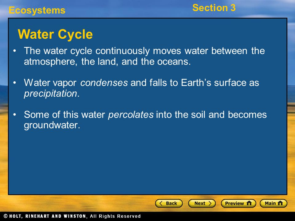 Water Cycle The water cycle continuously moves water between the atmosphere, the land, and the oceans.