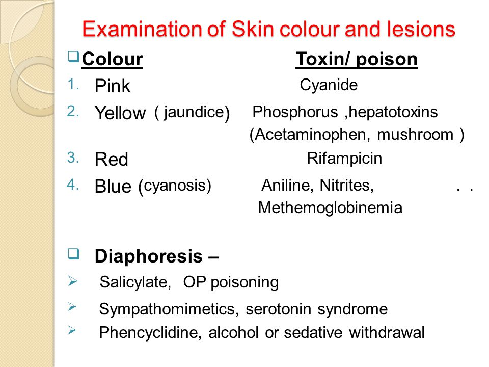 Examination of Skin colour and lesions