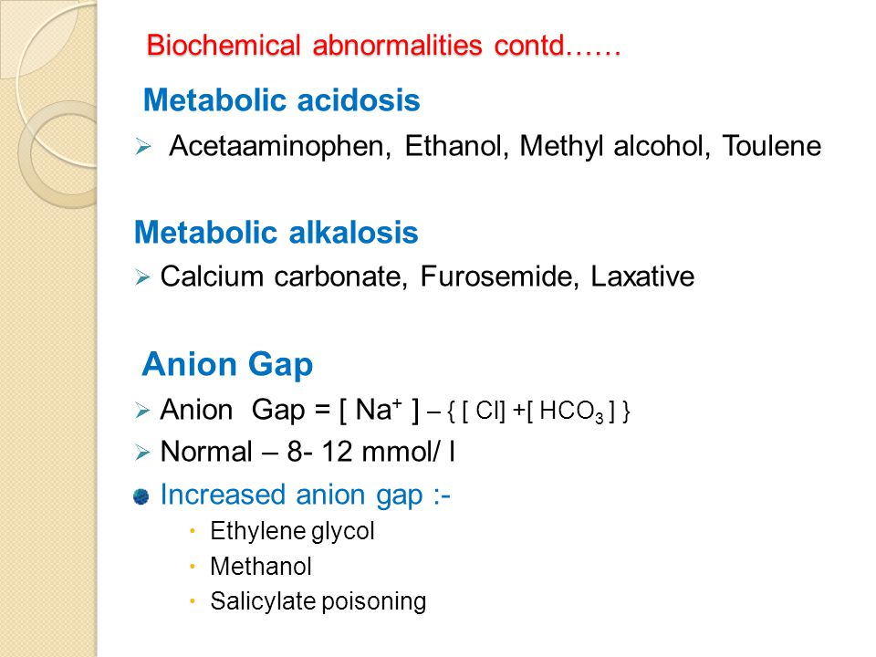 Biochemical abnormalities contd……