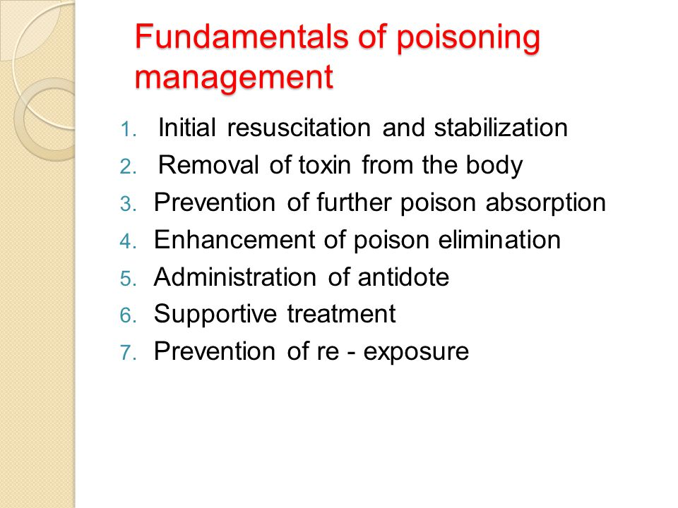 Fundamentals of poisoning management
