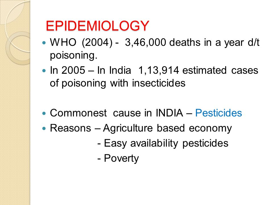 EPIDEMIOLOGY WHO (2004) - 3,46,000 deaths in a year d/t poisoning.