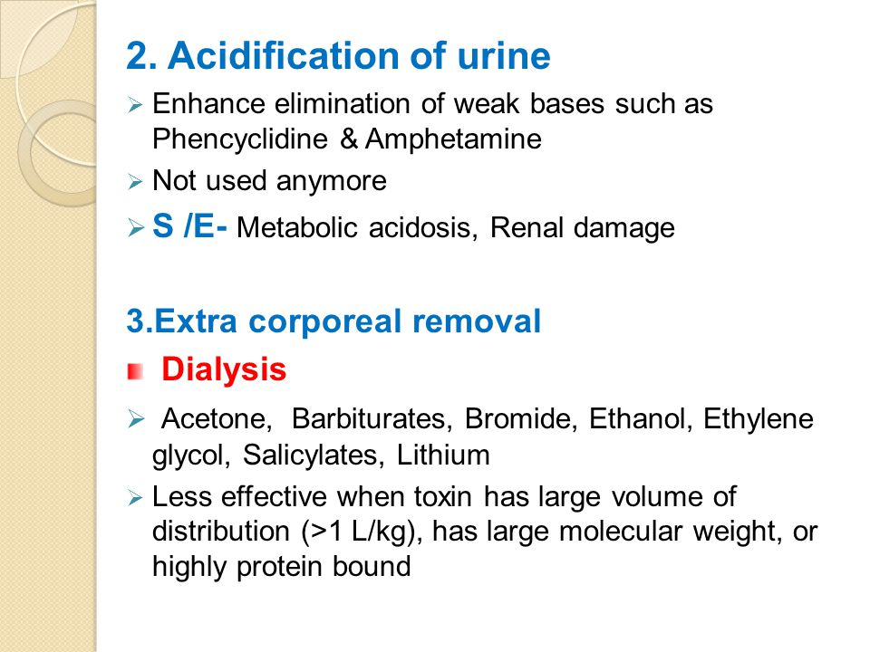 2. Acidification of urine