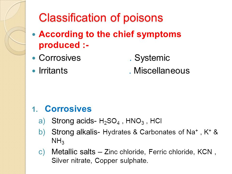 Classification of poisons