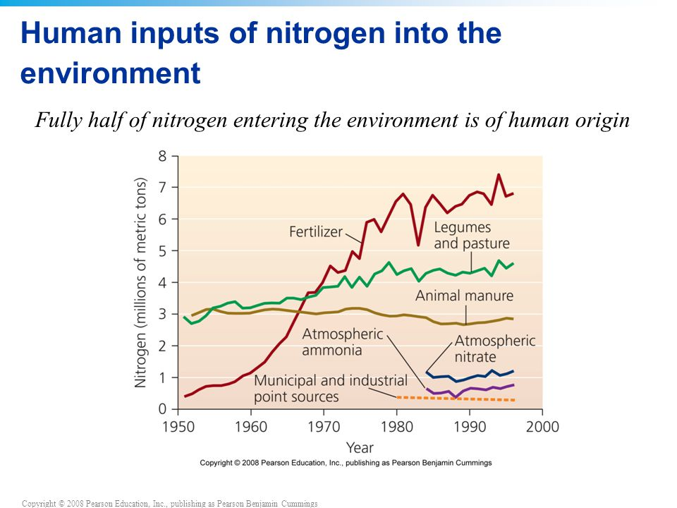 Human inputs of nitrogen into the environment