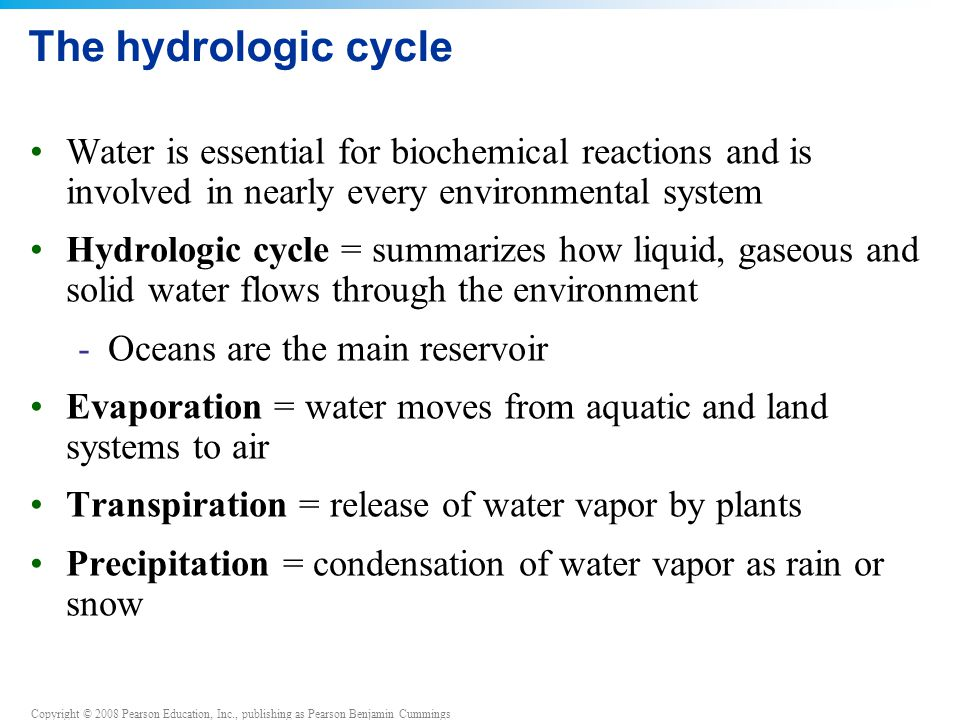 The hydrologic cycle Water is essential for biochemical reactions and is involved in nearly every environmental system.