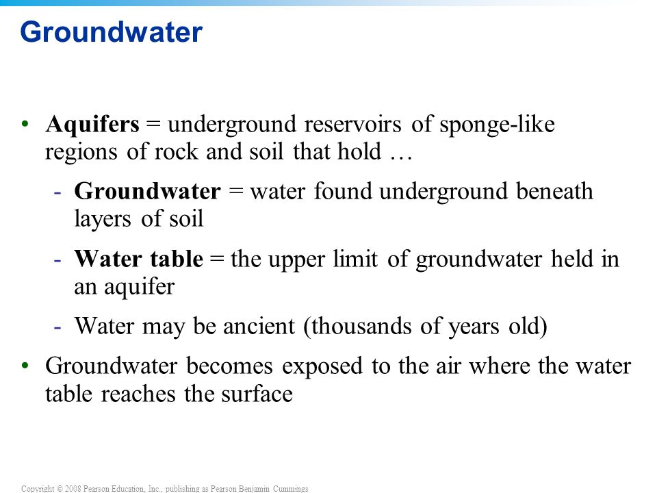 Groundwater Aquifers = underground reservoirs of sponge-like regions of rock and soil that hold …
