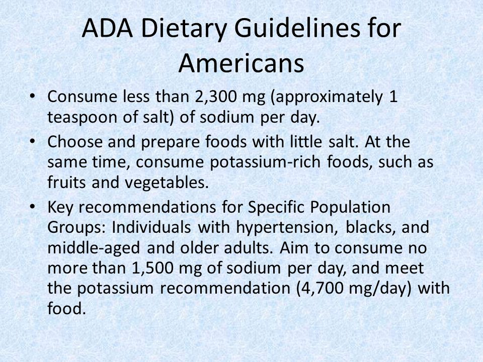 ADA Dietary Guidelines for Americans