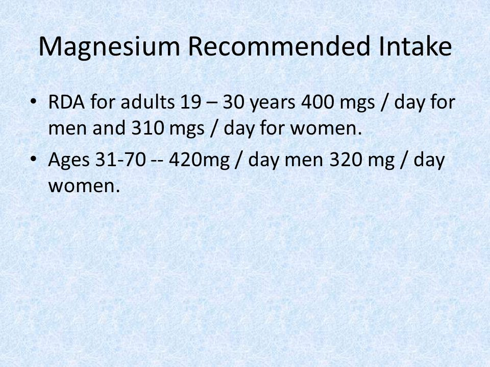 Magnesium Recommended Intake