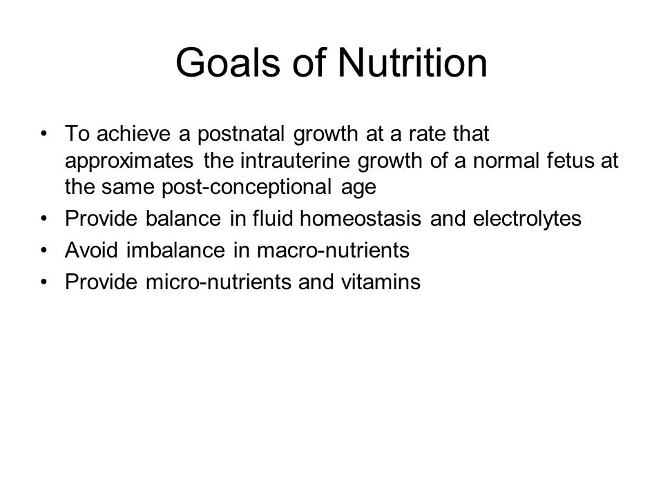 Goals of Nutrition