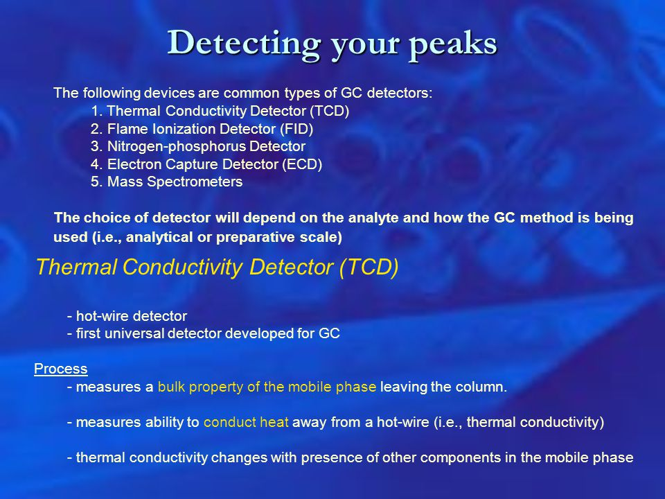 Detecting your peaks Thermal Conductivity Detector (TCD)