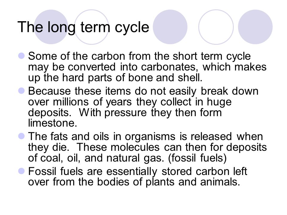 The long term cycle Some of the carbon from the short term cycle may be converted into carbonates, which makes up the hard parts of bone and shell.