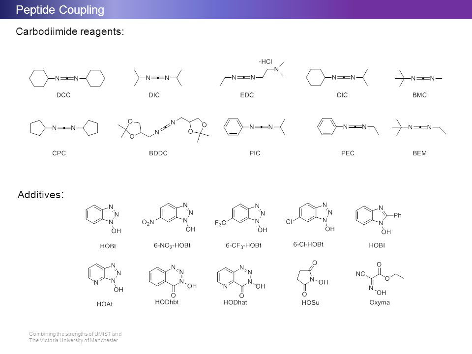 Peptide Coupling Carbodiimide reagents: Additives: