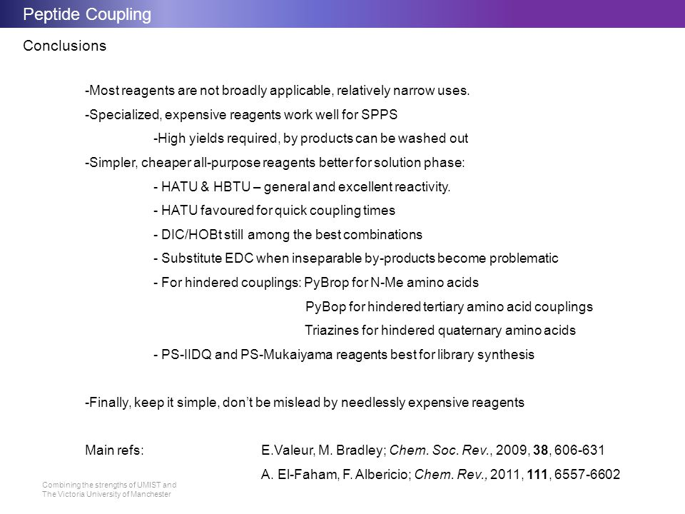Peptide Coupling Conclusions