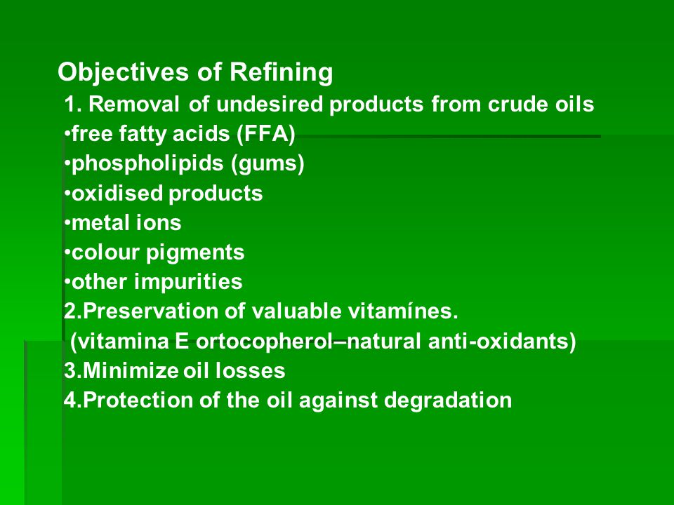 Objectives of Refining