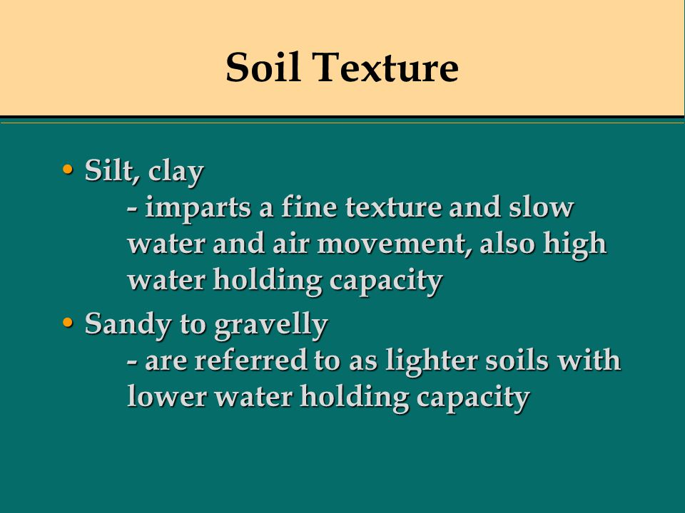 Soil Texture Silt, clay - imparts a fine texture and slow water and air movement, also high water holding capacity.