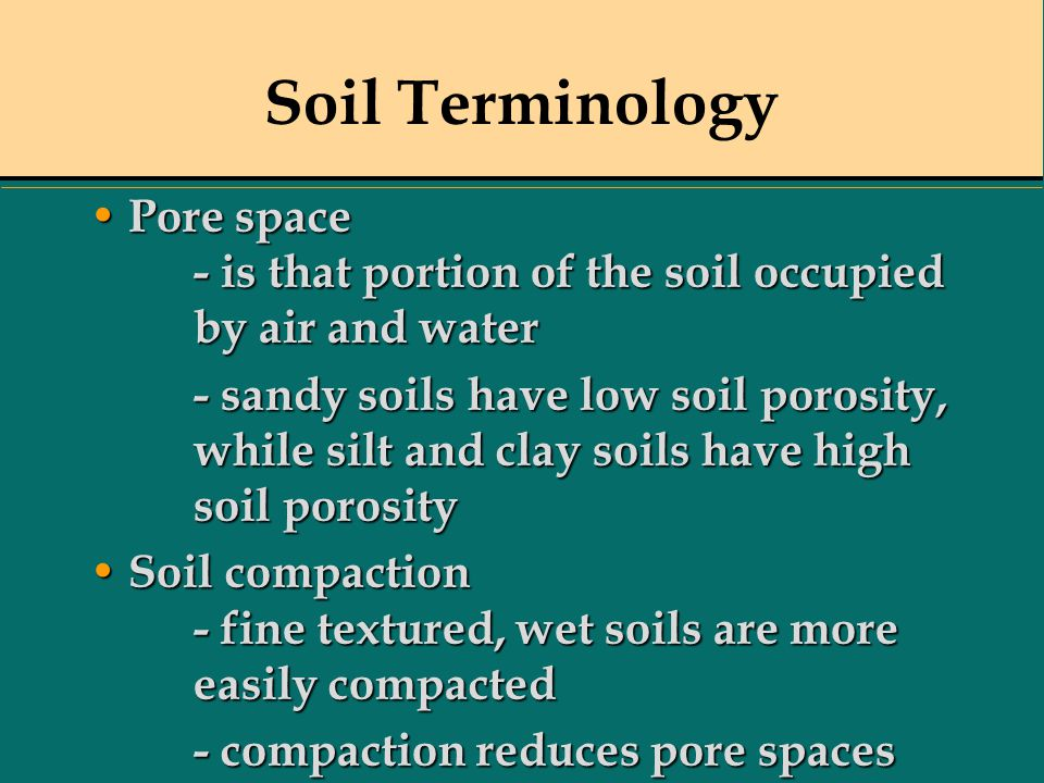 Soil Terminology Pore space - is that portion of the soil occupied by air and water.