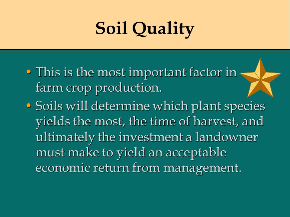 Soil Quality This is the most important factor in farm crop production.