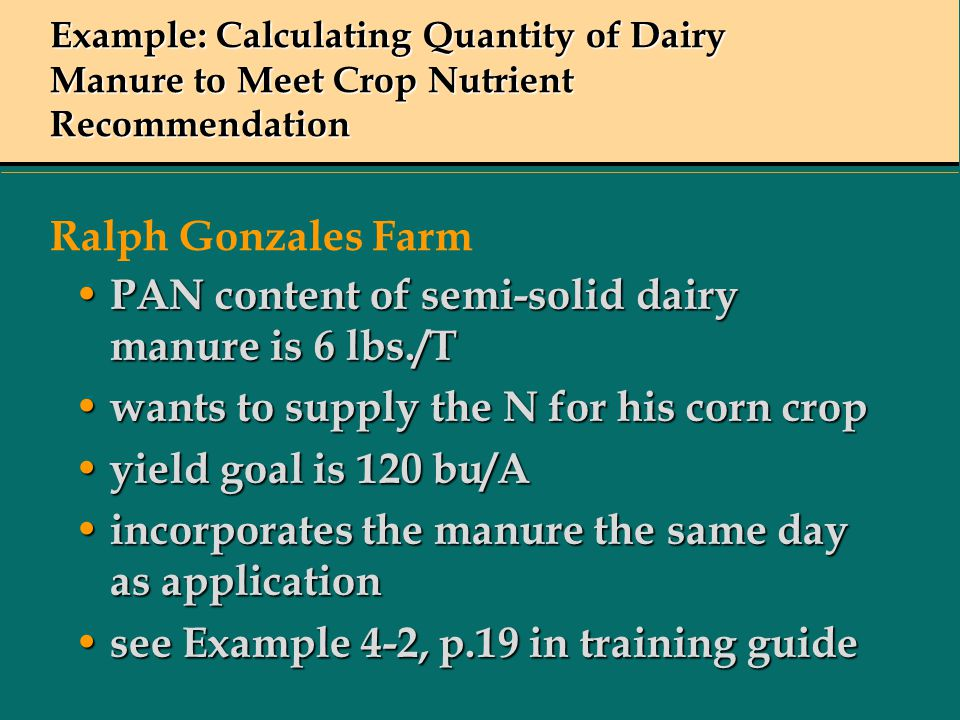 PAN content of semi-solid dairy manure is 6 lbs./T