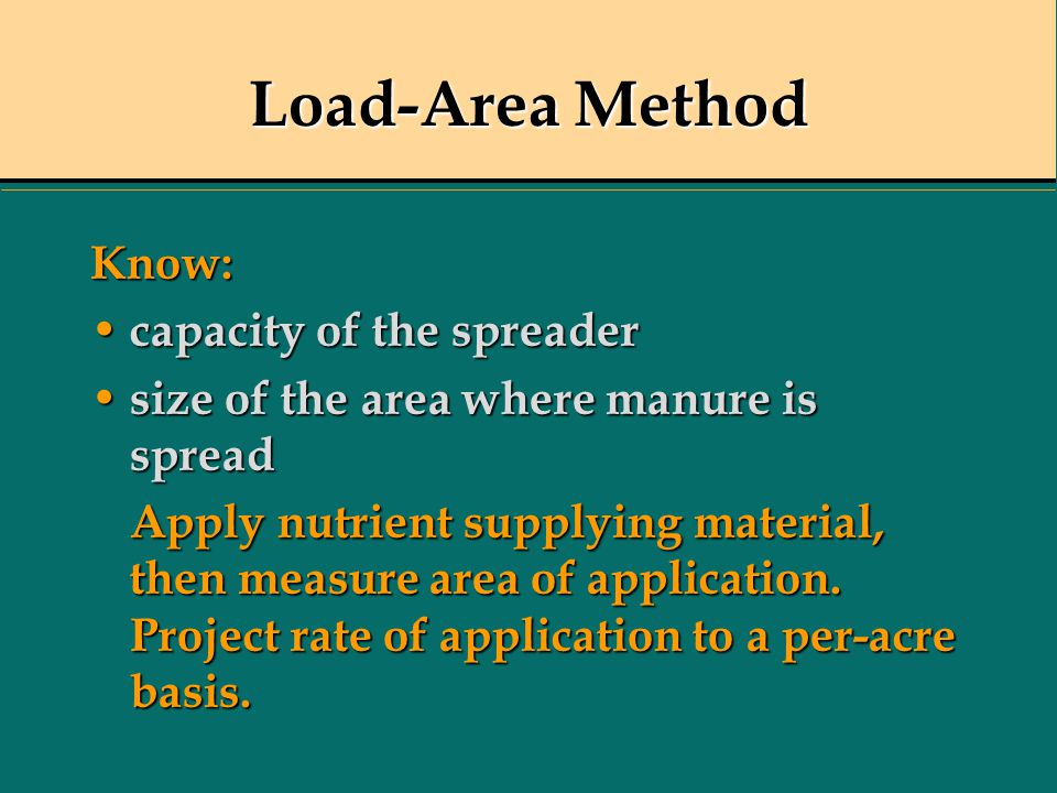 Load-Area Method Know: capacity of the spreader