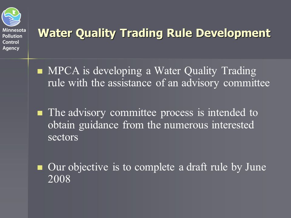Water Quality Trading Rule Development