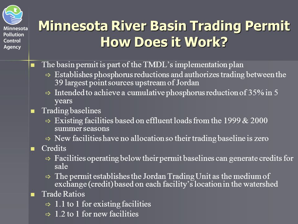 Minnesota River Basin Trading Permit How Does it Work