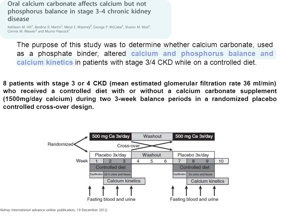 The purpose of this study was to determine whether calcium carbonate, used as a phosphate binder, altered calcium and phosphorus balance and calcium kinetics in patients with stage 3/4 CKD while on a controlled diet.
