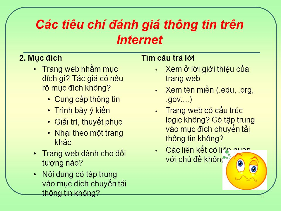Các tiêu chí đánh giá thông tin trên Internet