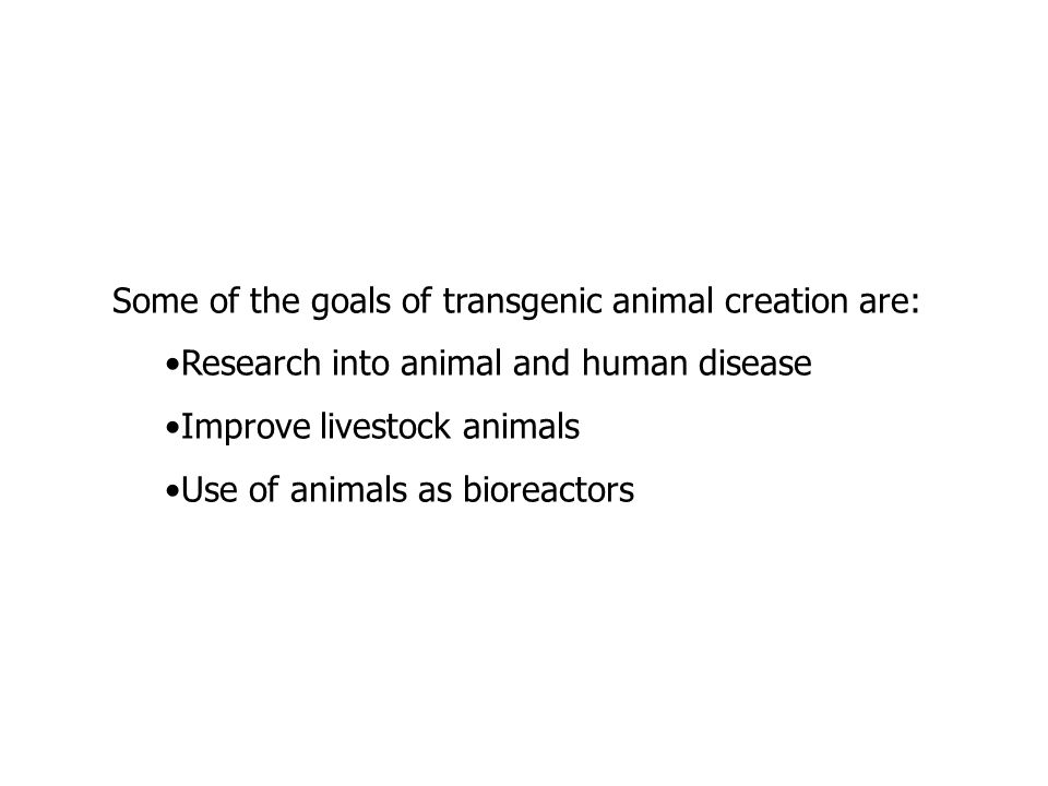 Some of the goals of transgenic animal creation are: