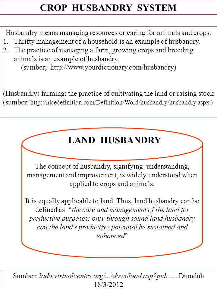 Husbandry means managing resources or caring for animals and crops:
