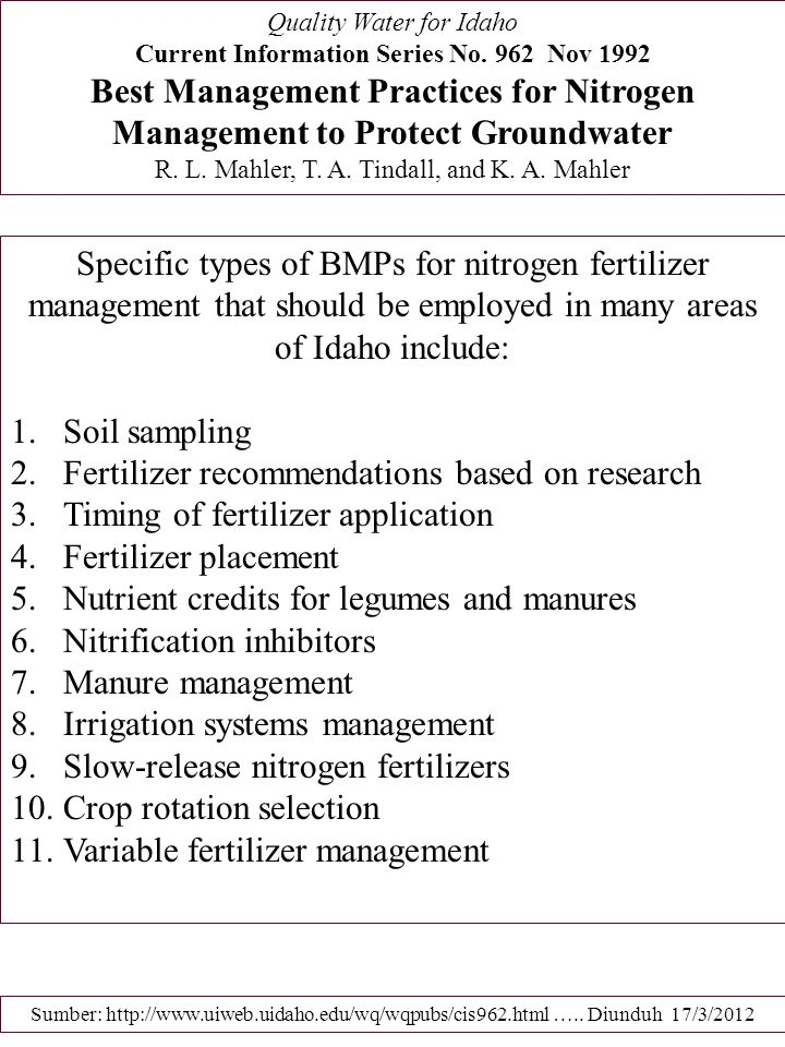 Fertilizer recommendations based on research
