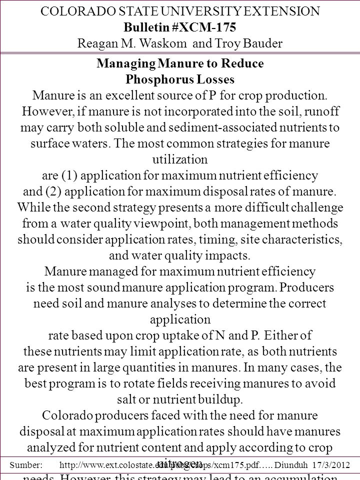 Managing Manure to Reduce