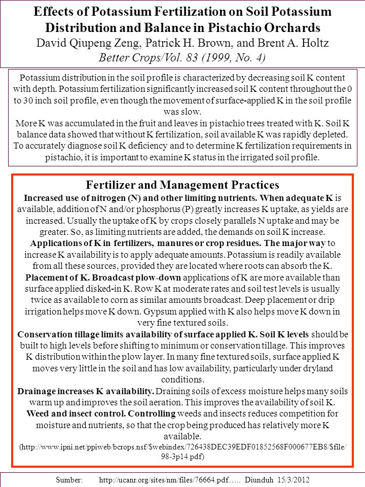 Fertilizer and Management Practices