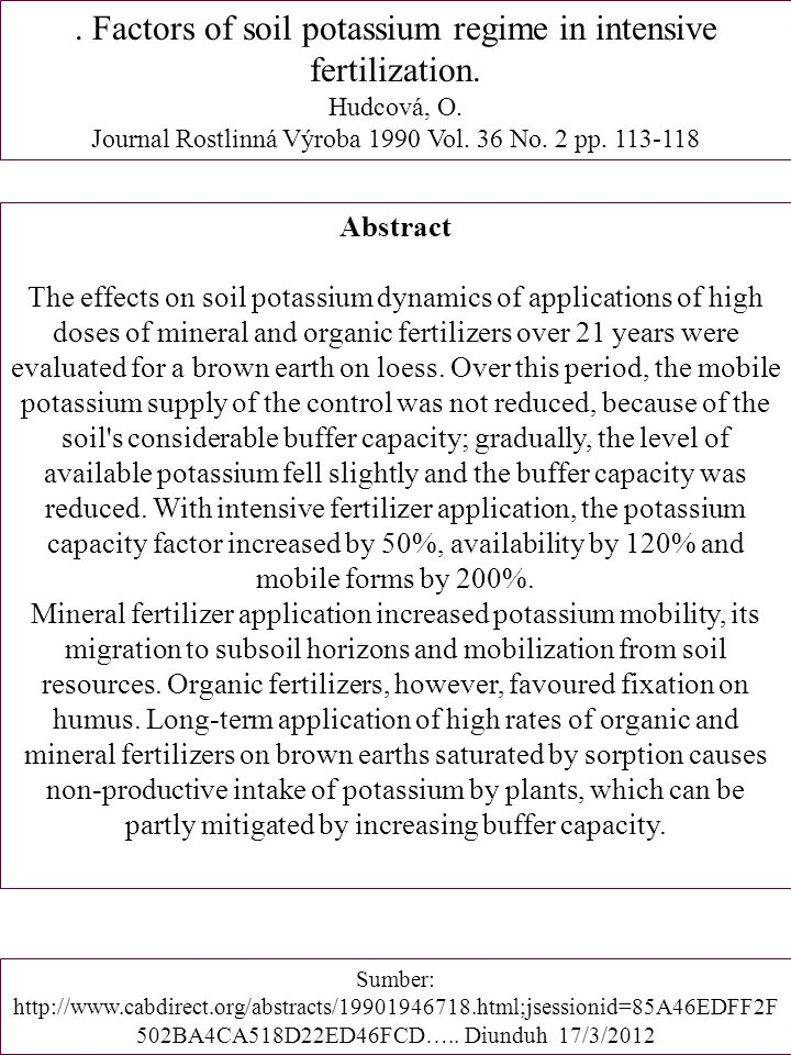 . Factors of soil potassium regime in intensive fertilization.