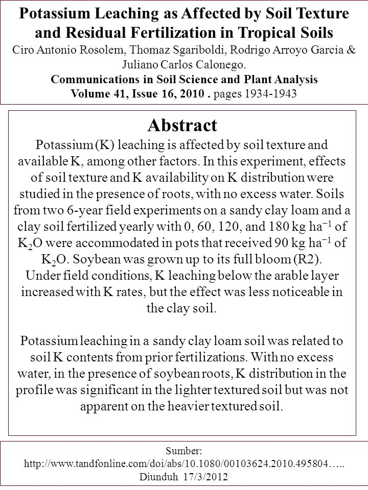 Potassium Leaching as Affected by Soil Texture and Residual Fertilization in Tropical Soils
