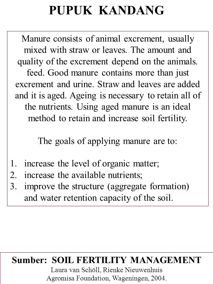 Sumber: SOIL FERTILITY MANAGEMENT
