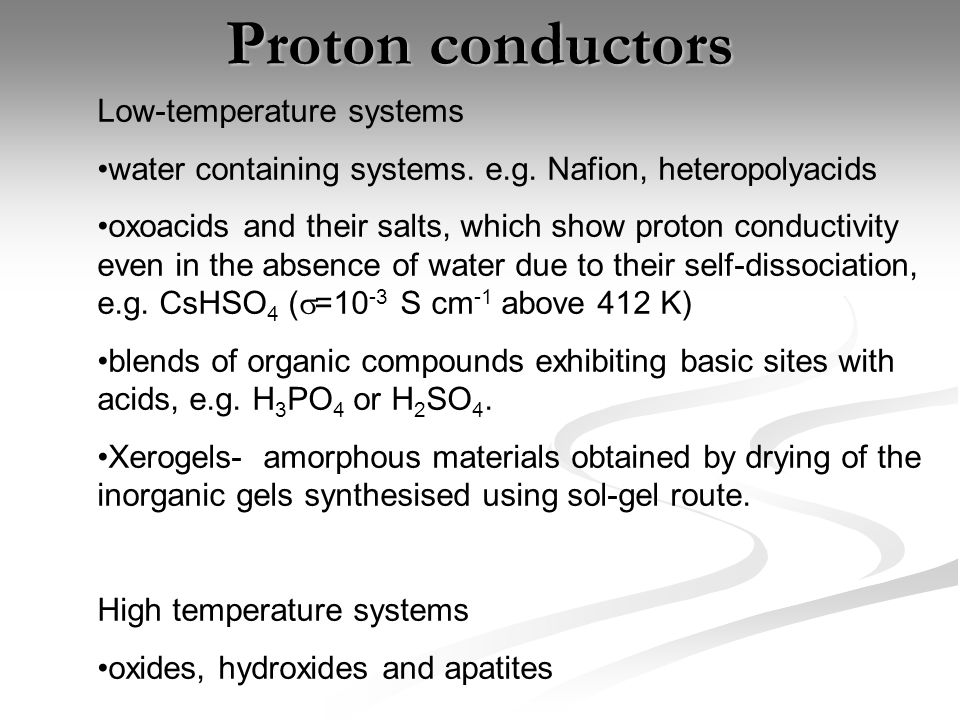 Proton conductors Low-temperature systems
