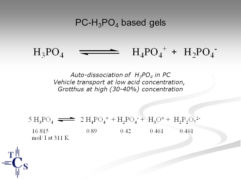 PC-H3PO4 based gels Auto-dissociation of H3PO4 in PC