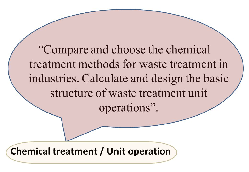 Compare and choose the chemical treatment methods for waste treatment in industries. Calculate and design the basic structure of waste treatment unit operations .