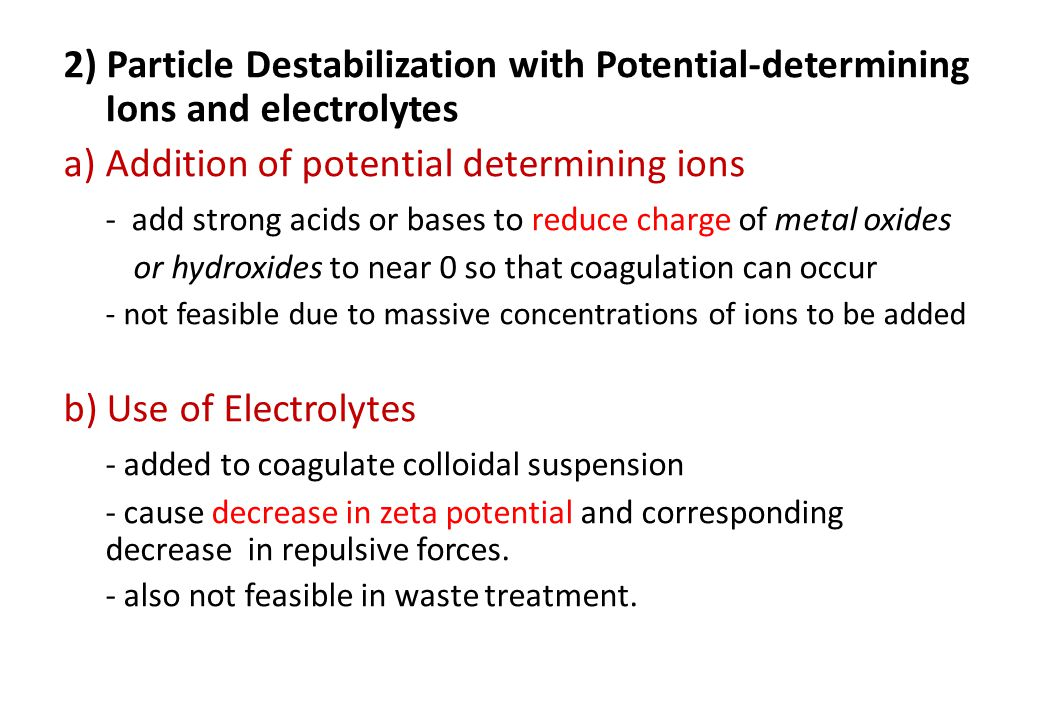 a) Addition of potential determining ions