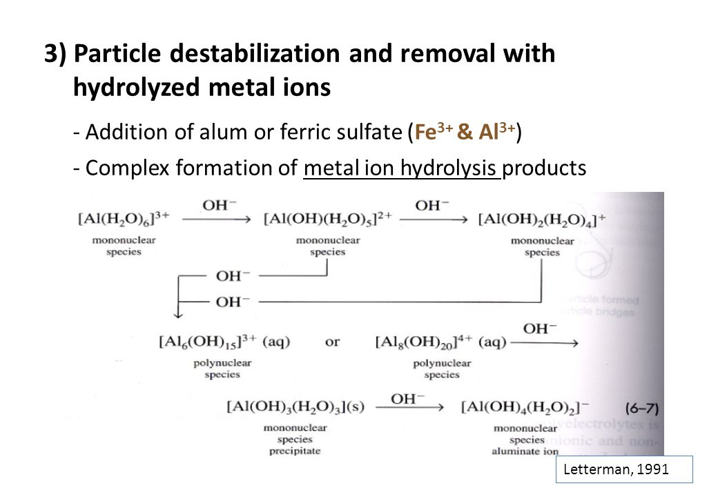 - Addition of alum or ferric sulfate (Fe3+ & Al3+)