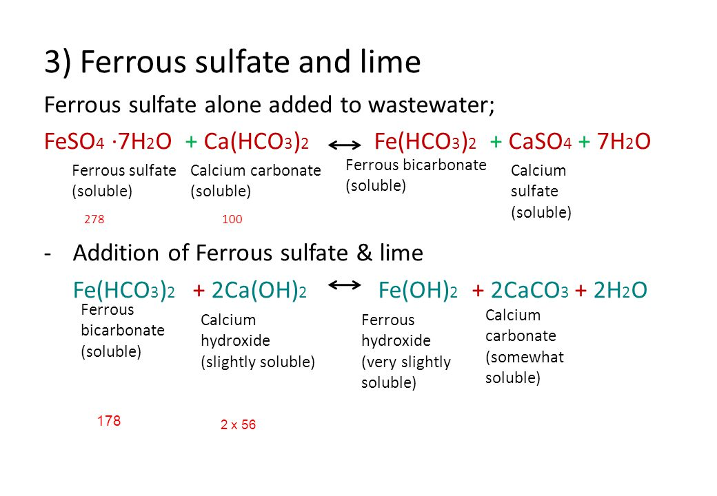3) Ferrous sulfate and lime