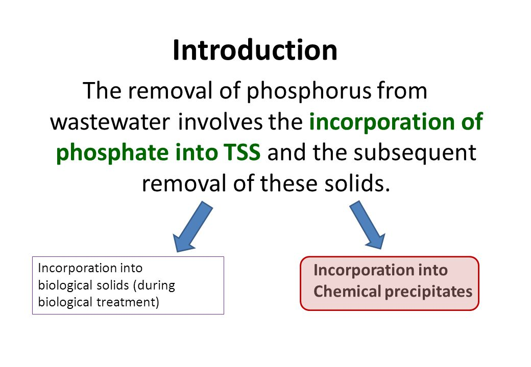 Introduction The removal of phosphorus from wastewater involves the incorporation of phosphate into TSS and the subsequent removal of these solids.