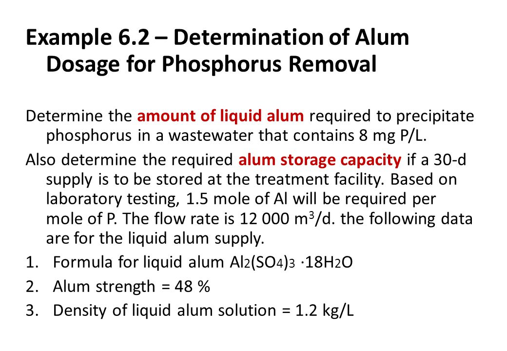 Example 6.2 – Determination of Alum Dosage for Phosphorus Removal