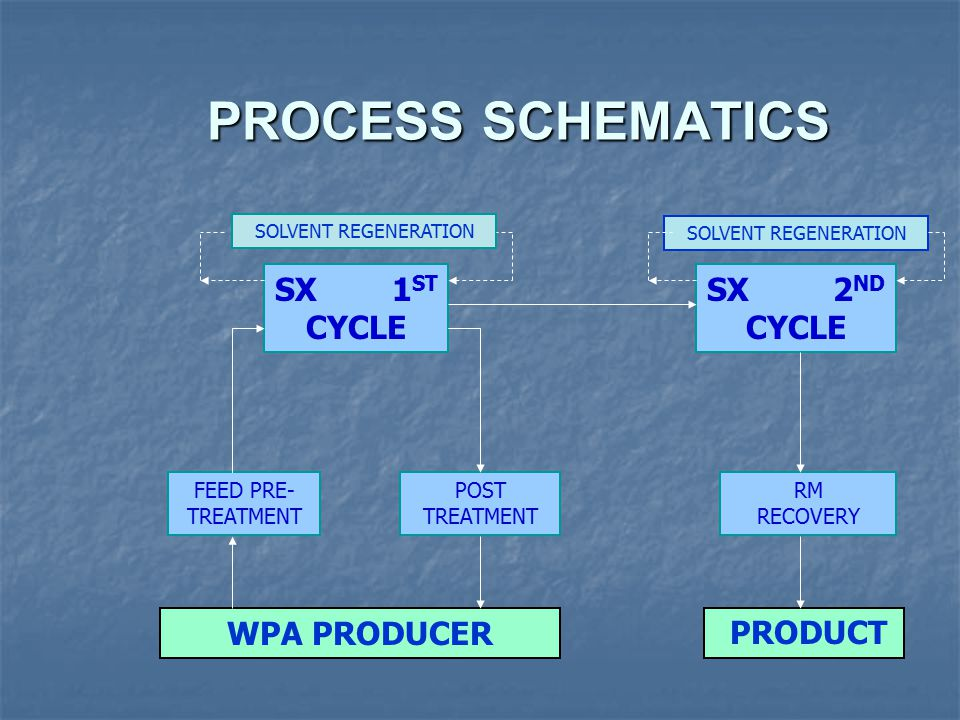 PROCESS SCHEMATICS SX 1ST CYCLE SX 2ND CYCLE WPA PRODUCER PRODUCT