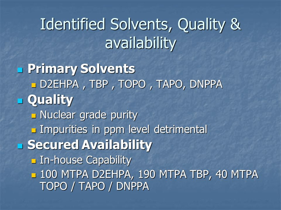 Identified Solvents, Quality & availability